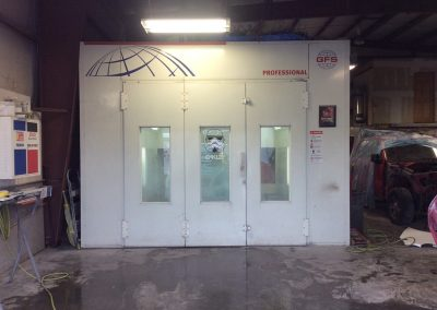 Paint booth doors closed